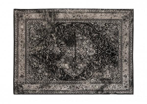 Vintage-Teppich LUIS, 240 x 300 cm, grau / schwarz / Jaquard