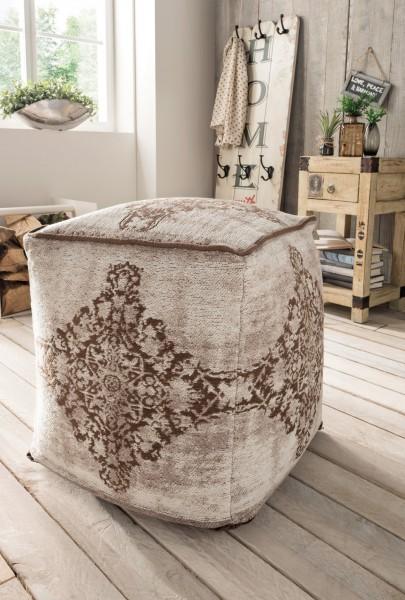 Vintage-Sitzhocker ANTIQUITY, beige