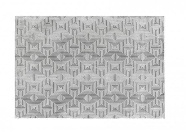 Design-Teppich LABYRINTH, 160 x 230 cm, dunkel-silber